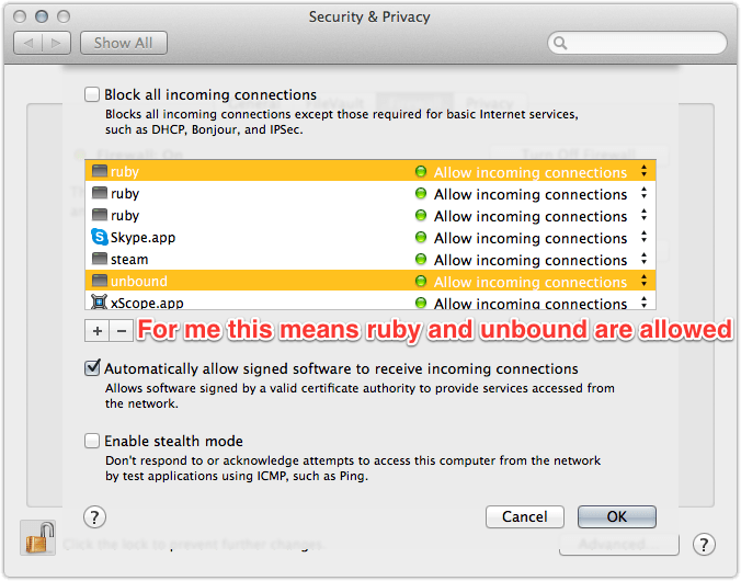 Example of System Preferences Firewall options