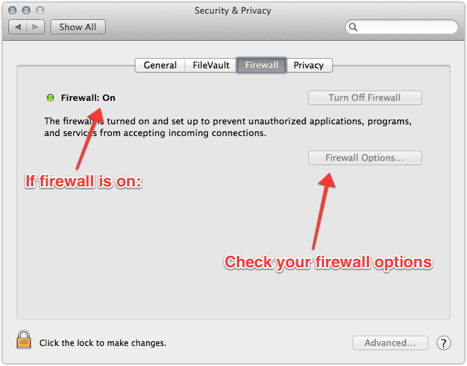 Example of System Preferences Firewall panel
